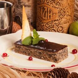 Маковый пирог с черничным пралине и грецким орехом