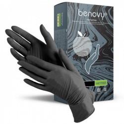 Перчатки нитрил S BENOVY ЧЕРНЫЕ текстур.на пальцах 100шт 3,5гр