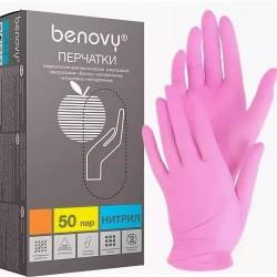 Перчатки нитрил M BENOVY неопудр текстур на пальцах Розовые 100шт 3,5гр